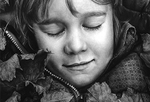 Autumn Dream - hyper-realistic charcoal drawing of child portrait by Singapore fine art artist Liu Ling