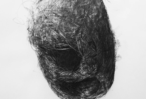Bird Nest No.7 - nature inspired art, charcoal drawing art, Singapore art