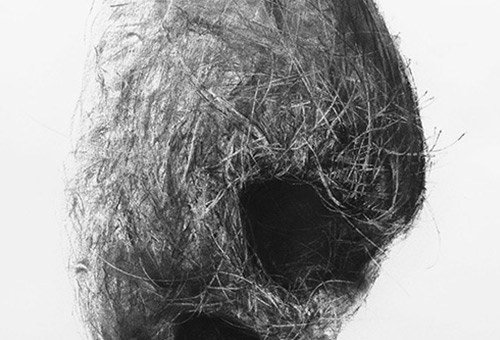 Bird Nest No.8- contemporary charcoal drawing of nature still life by Singapore artist Liu Ling