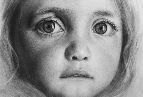 Bright Eyes - drawing eyes. Contemporary Photo-realistic charcoal portrait of a little girl by Singapore visual artist Liu Ling