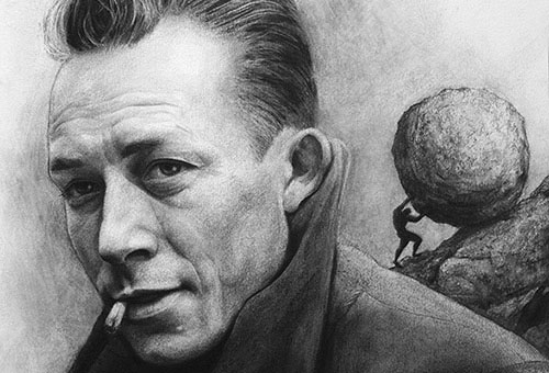 Albert Camus - realistic charcoal portrait drawing of the most famous French philosopher by Singapore artist Liu Ling