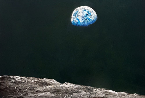 Earthrise - chalk and soft pastel drawing on blackboard. Chalk art by Singapore artist Liu Ling. Reference photo from NASA, taken during Apollo 8, the first manned mission to the moon.