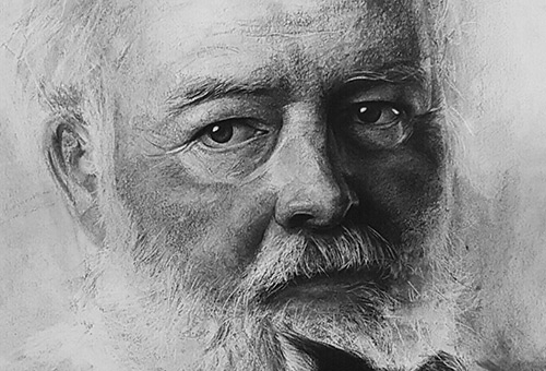 Ernest Hemingway - contemporary realistic charcoal portrait drawing by Singapore portrait artist Liu Ling