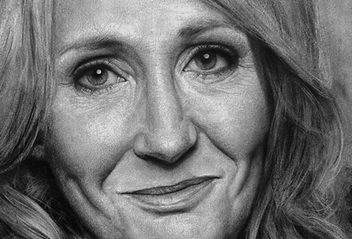 J. K. Rowling - black and white portrait of famous writers by Singapore charcoal drawing artist Liu Ling