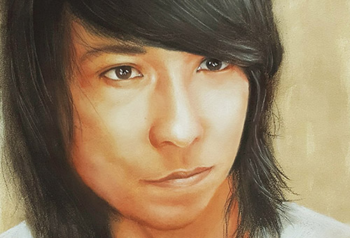 Commissioned portrait drawing by Singapore artist Liu Ling