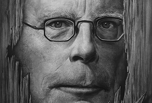 Stephen King - black and white portrait drawing artwork of famous writers by Singapore drawing artist Liu Ling