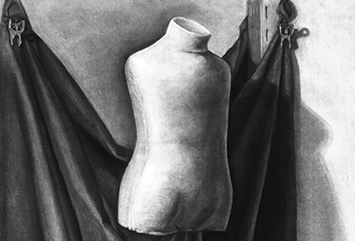 Mannequin - realistic black and white still life art study by Singapore contemporary fine art artist Liu Ling at Art Is Charcoal Drawing Course