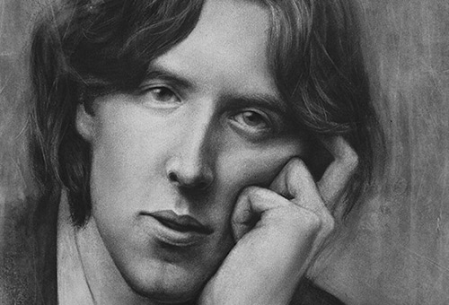 Oscar Wilde - realistic drawings of famous writers by Singapore charcoal portrait artist Liu Ling