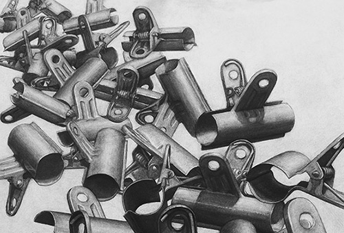 Paper Clips - overlapping of daily objects in charcoal drawing by Singapore realist artist Liu Ling