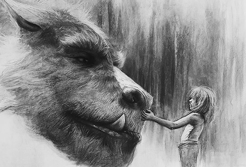 Pete's Dragon - charcoal drawing study of a movie scene from Disney's Pete's Dragon