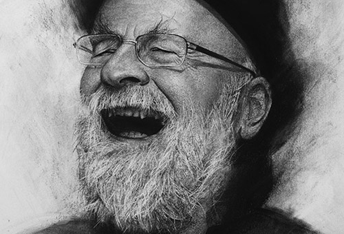 Terry Pratchett (sold art) - portrait artwork of the English author of Discworld by charcoal drawing artist Liu Ling