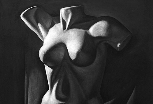 Torso - art study of a female torso with drapery by Singapore visual artist Liu Ling at Art Is Charcoal Drawing Class