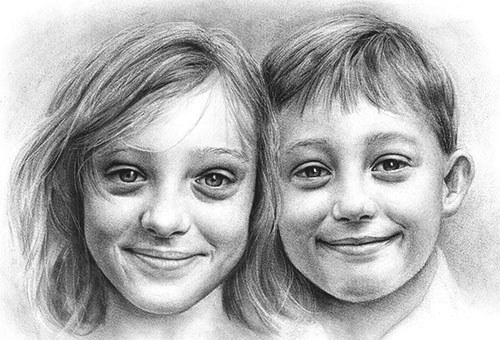 Commissioned children portrait drawing by Singapore artist Liu Ling
