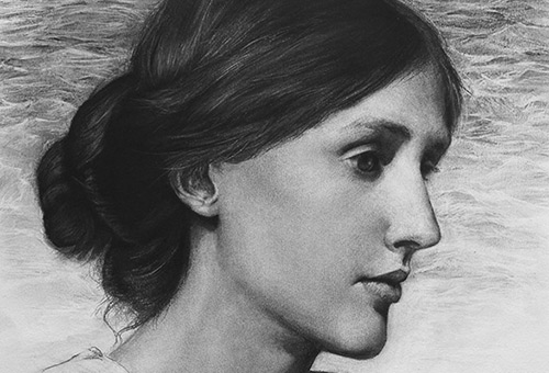 Virginia Woolf - contemporary portrait drawing of the beautiful English female writer by Singapore charcoal artist Liu Ling