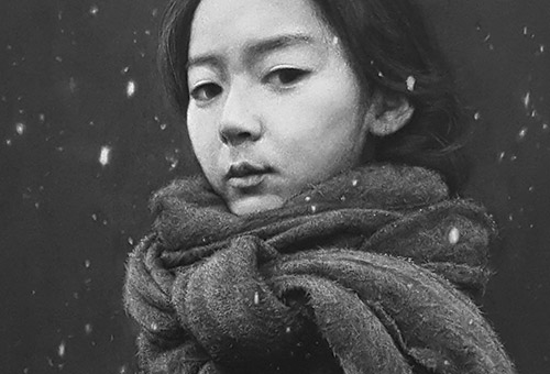 Xiao Fang - hyper-realistic charcoal drawing portrait of a beautiful Chinese girl standing in the snow, by Singapore artist Liu Ling