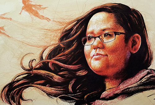 Shafiqa Ramani - portrait illustration commission art for Our Better World by Singapore realist artist Liu Ling